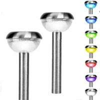 Set of 12 Stainless Steel Color Changing Solar Outdoor Lights
