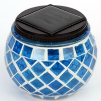 Set of 4 Blue Solar Mosaic Glass Decor Landscape Lights