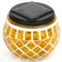 Set of 4 Yellow Solar Mosaic Glass Decor Landscape Lights