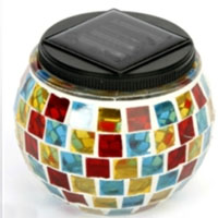 Set of 4 Italian Style Solar Mosaic Glass Decor Landscape Lights