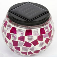 Set of 4 Pink & White Solar Mosaic Glass Decor Landscape Lights