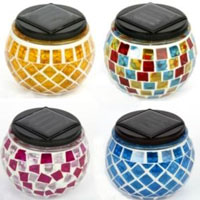 Assorted Set of Solar Mosaic Glass Decor Landscape Lights