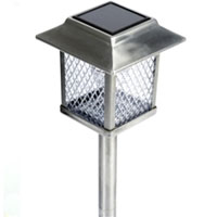 Set of 6 Large Outdoor Stainless Steel Solar Lights