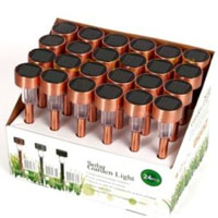 Set of 24 Copper Bright White Outdoor Solar Lights