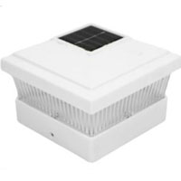 Set of 8 White Outdoor Garden Solar LED Post Deck Cap Square Lamps