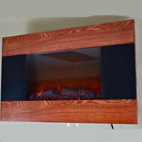 Brand New GV Modern Wood Trim Panel Electric Fireplace Heater Wall Mount style Flame Light