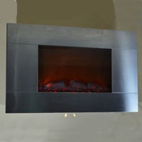 Brand new GV Stainless Panel Electric Fireplace Heater 1500W Wall Mount style Flame Log Light