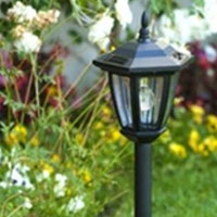 6 Outdoor Garden 3-LED Antique Style Solar Power Lamps