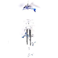 Set of Two Dolphin Solar Powered Color Changing Wind Chime Lights
