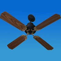 Solar Powered 12/24 Volt Ceiling Fan with 4 Wood Finish Blades