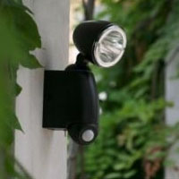 High Quality Plastic 1-LED White Light Solar Powered PIR Sensor Flood & Security Light