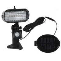 Black 6-LED Solar Powered PIR Sensor Security Light