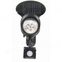 Black Metal 6-LED Solar Powered PIR Sensor Security Light