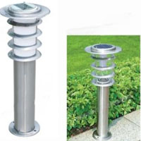 High Quality Stainless Steel 0.3W Solar Powered White LED Garden and Lawn Light Post