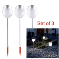 3 Piece Environmental Protection Bright White LED Solar Powered Lawn Lights
