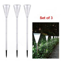 Set of 3 Environmental Protection LED Solar Powered Lawn Lights
