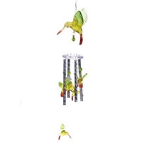 Set of Two Hummingbird Solar Powered Color Changing Wind Chime Lights