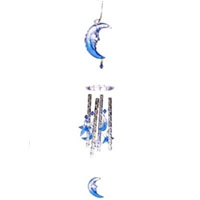 Set of Two Moon & Stars Solar Powered Color Changing Wind Chime Lights