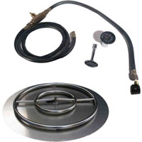High Grade 30in SS Fire Pit Ring Burner Kit with Pan NG Connection Kit