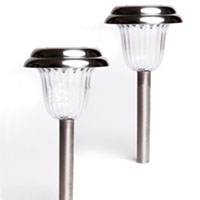 Set of 24 LED Stainless Steel Outdoor Solar Lights
