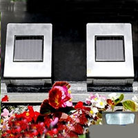 Set of 6 Stainless Steel Solar Wall Lights