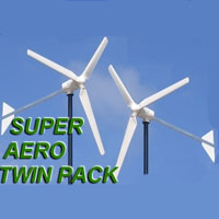 Super Aero Twin Pack 2Kw Windmill Wind-Turbine Generator System