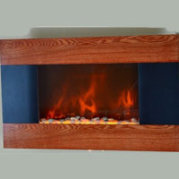 Brand New GV Modern Wood Trim Panel Electric Fireplace Heater Wall Mount Pebbles Display
