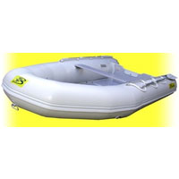 12' White Inflatable Boat with Coated Wooden Panel Floor