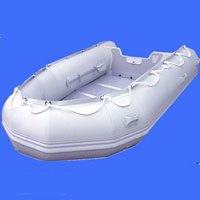 14' White Inflatable Boat with Coated Wooden Panel Floor
