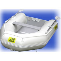 8.5' White Inflatable Boat with Coated Wooden Panel Floor