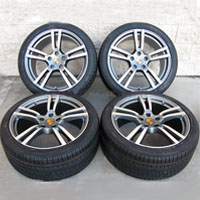 "21"" Porsche Cayenne Turbo II Style Wheels Rims Tires Gunmetal with Machine Face"