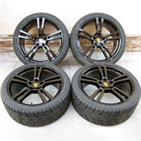 "22"" Porsche Panamera Turbo II Style Wheels Rims Lionhart Tires Glossy Black"