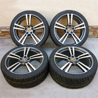 "22"" Porsche Cayenne Turbo II Style Wheels Rims Tires Gunmetal with Machine Face"