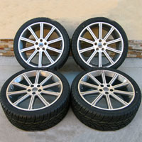 "22"" Range Rover 10 Spoke Wheel and Tire Package, Gunmetal with Machine Face"