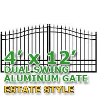 4' x 12' Residential Dual Aluminum Estate Style Driveway Gate