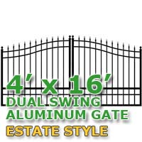 4' x 16' Residential Dual Aluminum Estate Style Driveway Gate