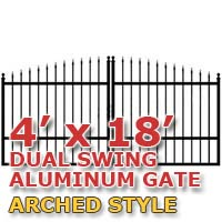 4' x 18' Residential Dual Aluminum Arch Style Driveway Gate