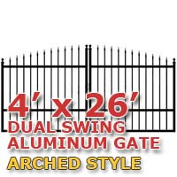 4' x 26' Residential Dual Aluminum Arch Style Driveway Gate