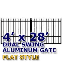 4' x 28' Residential Dual Aluminum Flat Style Driveway Gate
