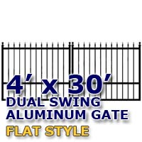 4' x 30' Residential Dual Aluminum Flat Style Driveway Gate