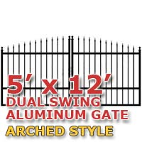 5' x 12' Residential Dual Aluminum Arch Style Driveway Gate