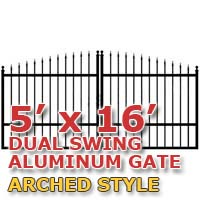 5' x 16' Residential Dual Aluminum Arch Style Driveway Gate