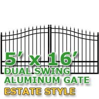 5' x 16' Residential Dual Aluminum Estate Style Driveway Gate