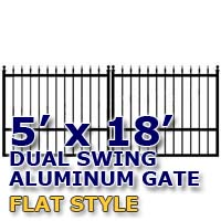 5' x 18' Residential Dual Aluminum Flat Style Driveway Gate
