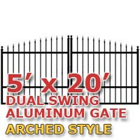 5' x 20' Residential Dual Aluminum Arch Style Driveway Gate