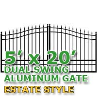 5' x 20' Residential Dual Aluminum Estate Style Driveway Gate