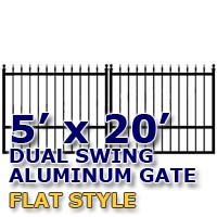 5' x 20' Residential Dual Aluminum Flat Style Driveway Gate