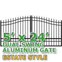 5' x 24' Residential Dual Aluminum Estate Style Driveway Gate
