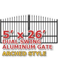 5' x 26' Residential Dual Aluminum Arch Style Driveway Gate