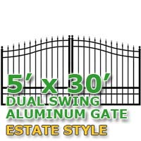 5' x 30' Residential Dual Aluminum Estate Style Driveway Gate